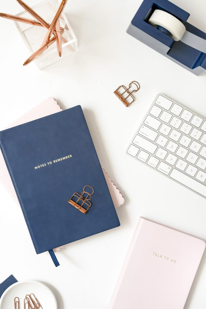 Navy and pink stationery